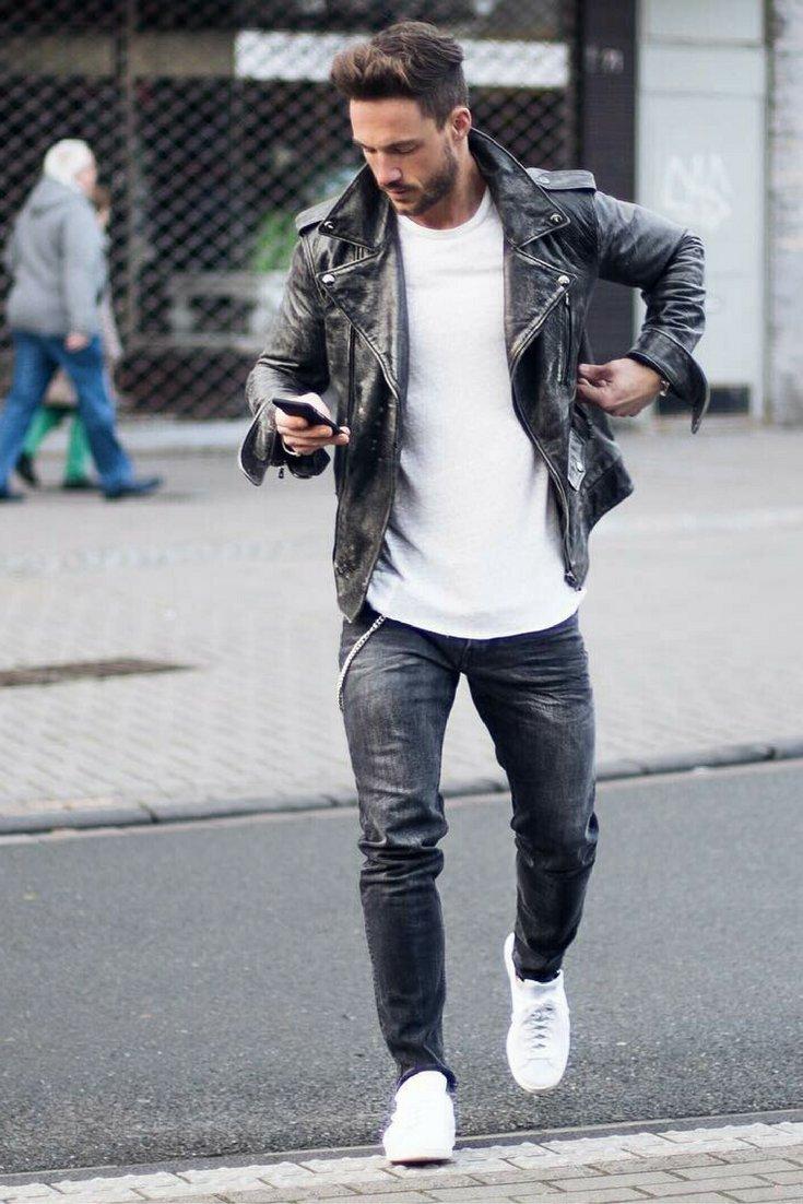 Mặc áo da nam thật với quần jogger sao cho thật manly?